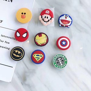 Mix styles Silicone Cartoon Holders Super Hero Expanding Holder Stand Grip Clip Ring for SmartPhone Air Bag Cell Phone Bracket With Package