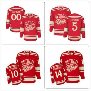 Özel Erkekler PREMIER Detroit Red Wings 5 NICKLAS LIDSTROM 2014 KIŞ KLASİK Hokeyi JERSEY KIRMIZI Dikişli Logoları Özelleştirilmiş işlemeli