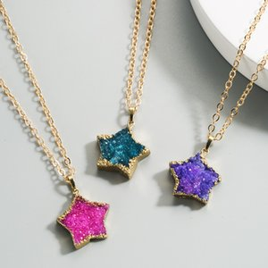 Hot Selling Simple Imitation Natural Stone Necklace Female Ins Pentagram Pendant Necklace Clavicle Chain Net Red