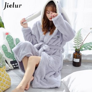 Jielur Mercan Kadife Bornoz Kadınlar Karikatür Sevimli Sıcak Kapşonlu Robe Tavşan Flanel Kimono Banyo Robe Abiye pijamalar T200420 Giyinme