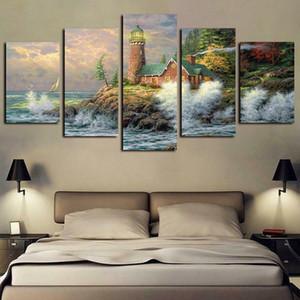 5 Painéis Imprimir Fairy Tale Small Town Lighthouse Cenário Obras giclée Canvas Wall Art Abstract Poster Canvas Oil Painting Wall Decor