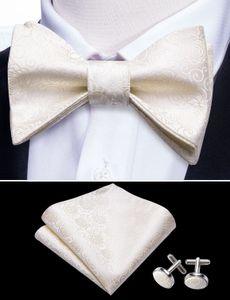 Seta floreale magazzino degli Stati Uniti Papillon Custom Ice Cream Bianco jacquard Appartamenti papillon cravatta per gli uomini di goccia di trasporto LH-1004