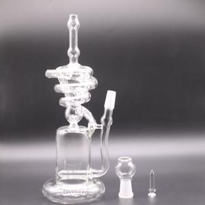 """Disponibles Glass Hookahs Recycler Bong Typhoon """"Bobina de espiral Hierba Fumar Rig Pers Tall 12"""" Inch Jiiint 14.5mm"""