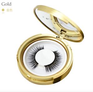 Round False Eyelash Case Plastic rose gold Eyelash Box with mirror Eyelashes Package Box Cosmetics empty Eye Lashes Package Boxes 100 pcsDHL