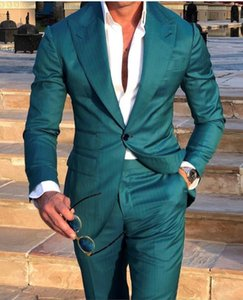 2019 New Green Wedding Tuxedos Slim Fit Groom Abiti Custom Made Groomsmen Prom Party Suits (Jacket + Pants) Nero Couple Day Business