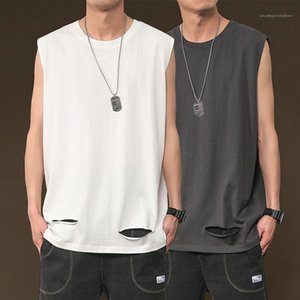 Style Loose Solid Color Tees Crew Neck Top Mens Sports Sleeveless Tank Top Summer Hip Hop