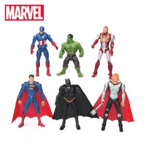 6pcs / lot 10,5 centímetros Marvel Toys The Avengers Set super-herói Batman Thor Hulk Capitão América Ação Resina Modelo Figuras boneca Atacado