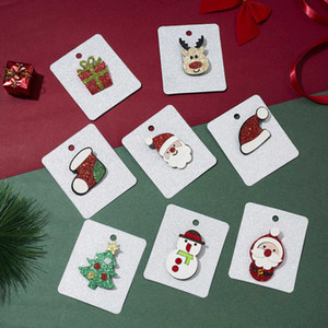 Christmas Series Christmas Hats Boots Milu Gift Box Felt Cloth Christmas Card Brooch Ornaments
