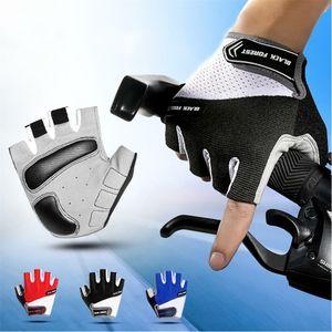 Guantes ciclismo de medio dedo guantes de la bicicleta del gel con relleno sin dedos Deportes Gimnasio Anti Slip guantes tácticos del fitness MTB