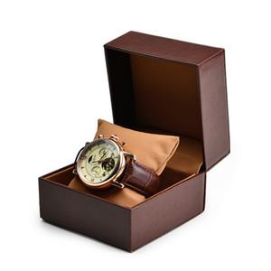 Emballage plastique Boîte personnalisée avec PU cuir oreiller Bracelet bijoux boîte de montre Brown Emballage cadeau cuir Designer Coffret