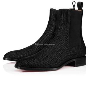 2019 Invierno, Otoño Hombre Bottom Boots Marca Diseñadores Rojo bota del tobillo Samson Orlato vestido de novia planos de los hombres de cuero de los zapatos del medio Botas Súper Qual