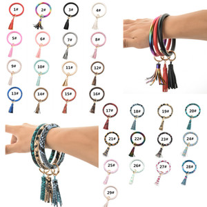 PU Leather Bracelet KeyChain With Tassel Wristbands Keychain Bangle Round Rings Wrist Key Ring Pendant 29 Colors Dia 8cm