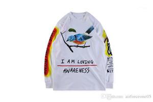 Мужская Весна череп птица печатные топы с длинными рукавами KANYE WEST WES LANG футболка