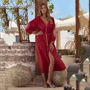 Covered Woman Summer Bathing Clothes Tunics Women Cover-Ups Rayon Embroidery Buttons Beach Bikini Plus Cardigan Garment Skirt