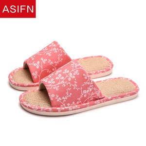 ASIFN Women's Bathroom Flax Slippers Cute Flower Home Slides Non Slip Indoor Mules Summer Chaussures Femme House Shoes Woman