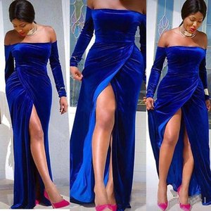 Off the Shoulder Mermaid Velvet Evening Dress Sexy Side High Split Royal Blue Long Dress Party Prom Gowns Formal Occasion 2020 New Fashion