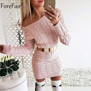 Forefair Kapalı Omuz Uzun Kollu Örme Triko Elbise Kadınlar Casual Pembe Gri Sonbahar Kış Sıcak Elegant Sexy Lady Elbise