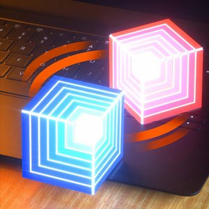 Magic rainbow LED flashing light square Speaker Portable trending music sound box 3D stereo boombox cube subwoofer TF card hands-free Mic