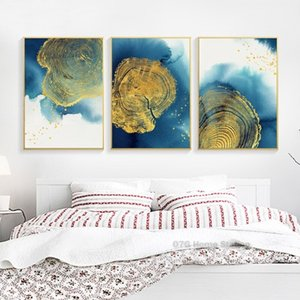 3 Panels Modern Abstract Fashion Blue Gold Tree Round Picture Wall Art Canvas Painting Nordic Poster Prints for Living Room Home Decoration