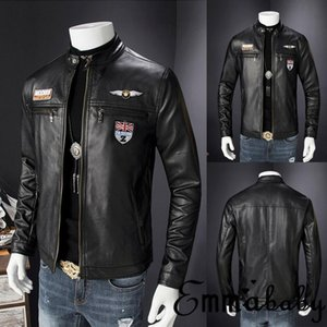 Emmababy Mens Retro Style Zipped Biker Jacket Real Leather Soft Coat Factory Black Casual Free shipping