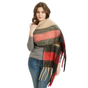Europeu e americano novo estilo de inverno Círculo Scarf-Character Chunky Shall Scarf Womens Grosso Chunky Tassel Scarf Shawl