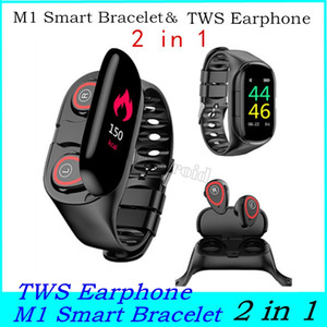 M1 senza fili Bluetooth smart Guarda auricolari Sport Watch Bracciale frequenza cardiaca Long Time Wristband auricolari Bracciale auricolare 2 in 1 Headset