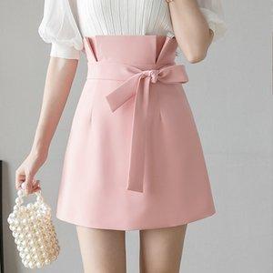 2020 Elegant High Waist Skirt Women Sashes Sexy Casual Slim Office Ladies Black Pink Skirts Casual Vintage Saia Mujer Faldas