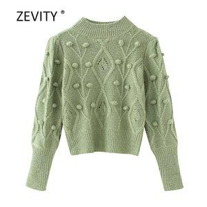 Zevity новых женщин моды сплошного цвета шарик аппликация вязание свитер дама длинный рукав случайных свитера пуловеры шикарных топы S309