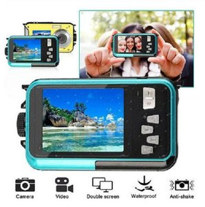 2020 Yeni 2.7 inç TFT Çift Ekran Dijital Kamera Su geçirmez 24MP MAX 1080P Full HD 16x Dijital Zoom Kamera HD268 Sualtı Kamera