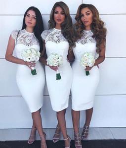 Country Style Длина колена Короткие платья невесты Jewel Cap рукава кружево и атласная Русалка платье Дешевые свадебные платья для гостей платье BM0935