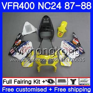 Кузов для HONDA RVF400R VFR400R RVF400RRR vfr400r желтый черный 1987 1988 267HM.42 VFR400 R NC24 V4 RVF VFR 400 R VFR 400R 87 88 обтекатель комплект
