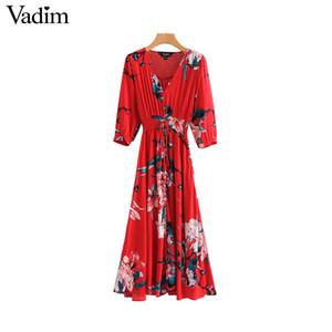 Atacado mulheres v neck floral maxi dress borla tie three quarter sleeve plissado feminino casual tornozelo comprimento vestidos vestidos qa981