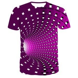 esplosioni 3D T-shirt transfrontaliere in bianco e nero di sport casuale allentata stampa digitale vertigine degli uomini di modo l'ipnosi T-shirt OC TX