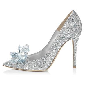 Cinderela sapatos de casamento de strass flores de cristal de noiva prata vermelho salto agulha 5 cm 7 cm 9 cm bombas de banquete de grife
