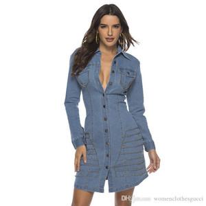 Jeans Women Dress risvolto collo con abiti pulsante casual signore lavoro vestito dal denim femminile della molla Rivet