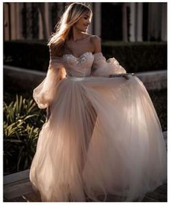 Lorie Light Pink Princess Dress da sposa Sweetheart Appliqued Soffio a maniche a sospensione Abito da sposa A-Line Tulle Backless Boho Gown