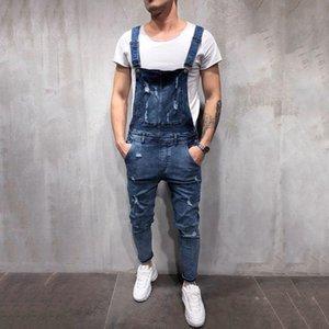 2020 Fashion Men's Ripped Jeans Overalls Jumpsuits Street Distressed Hole Denim Bib For Man Suspender Pants Size M-3XL VE7