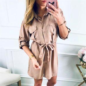 Para mujer otoño camisa de vestidos de color sólido de la solapa del cuello de manga larga de las señoras de los vestidos ocasionales diseñador para mujer de Calle con los marcos