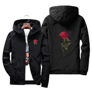 자수 장미 꽃 윈드 자켓 남성 후드 폭격기 재킷 피부 남성 자켓 jaqueta masculina 큰 크기 S M 7XL