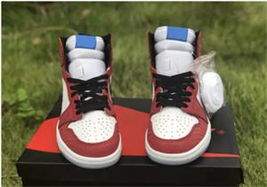 Con caja 1 OG High Spider Man Origin Story Hombres Zapatillas de baloncesto 2019 Nuevas zapatillas de deporte de cristal de Chicago Zapatillas de deporte