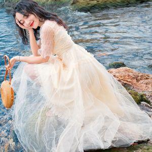 En iyi Kalite Serisi # Gelinlik Fırfır Trim Mesh Midi Örgün Parti Nedime Doğum Günü Akşam Balo Moda Yaz Kadın Elbiseler 812