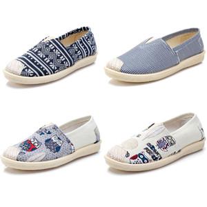 Nuevas mujeres no marca zapatos Alpargatas Chaussures resbalón en los zapatos de lona Pisos holgazanes ocasionales las zapatillas de deporte 35-40 Multiclticolors Estilo 3
