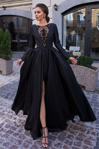 Sexy A Line Simple Women Black Evening Dresses Lace Satin Formal Party Gowns Front Split Long Sleeve vestido de noche