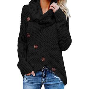 Mujeres jerseys de punto Manga larga o cuello Sólido chica Suéter Tops Blusa Camisa jerseys invierno mujer ropa