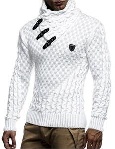 Erkek Sonbahar Kış Moda Süveterler Turtleneck Örme Katı Casual Kazak Slim Fit Erkek Süveterler