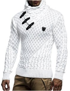 Mens Outono Inverno Moda Pullover Camisolas de gola de malha Sólidos Casual Camisolas Slim Fit masculinos capuz Camisolas