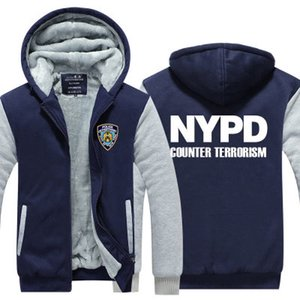 зима толстовка NYPD Нью-Йорк Департамент полиции мужчины женщины сгущаться осень толстовки одежда кофты молния куртка флис балахон уличная одежда