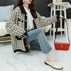 Plaid bolso Casual Botão malha Cardigãs de mulheres Camisolas 2020 Inverno Branco coreano único escritório Ladies diário Tops 3 cores de 2020