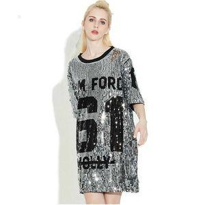 Frau Mini Club Damen Kleider 2019 Pailletten T-shirt Kleid Plus Größe Lose T-shirts Glitter Tops Weihnachten Kleid Frauen