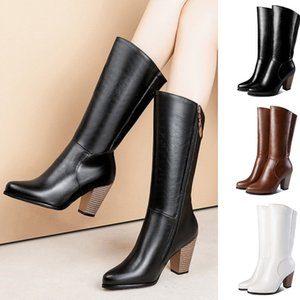 Women Band Designer Faux Leather Knee High Boots Pointed toe Boots Women Long Chunky Block High Heel Boots Black Brown White